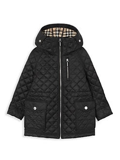 버버리 보이즈 트레이 퀼팅 자켓 - 블랙 Burberry Little Boys & Boys Trey Quilted Jacket,Black