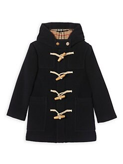 버버리 키즈 토글 피코트, 떡볶이 코트 - 네이비 Burberry Little Kids & Kids KB5 Burford Toggle Hooded Virgin Wool Peacoat,Navy
