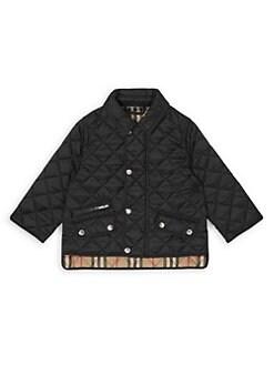 버버리 베이비 아기 브래넌 퀼팅 자켓 - 블랙 Burberry Babys IB6 Brennan Quilted Jacket,Black