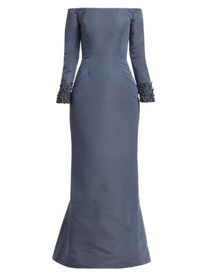 Oriel Off-The Shoulder Embellished Cuff Gown