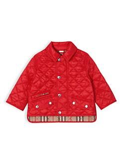 버버리 베이비 아기 브래넌 퀼팅 자켓 - 레드 Burberry Babys Brennan Quilted Jacket,Bright Red