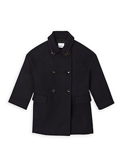 버버리 키즈 더블 울 코트 - 네이비 Burberry Little Kids & Kids KG6 Agnella Double-Breasted Wool Coat,Navy