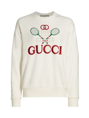 GUCCI   Heavy Felted Jersey Gucci Tennis Sweatshirt   Goxip