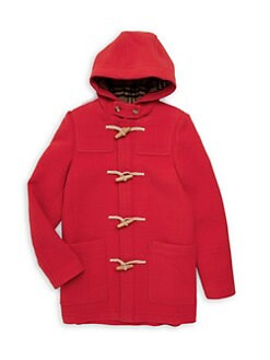 버버리 걸즈 토글 피코트, 떡볶이 코트 - 레드 Burberry Little Girls & Girls KG6 Burford Wool Peacoat,Bright Red