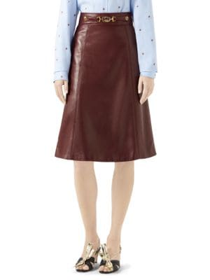 GUCCI   French Plongé Leather A-Line Skirt   Goxip