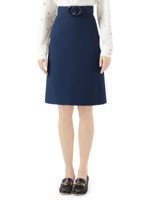 GUCCI   GG Plexi Belted Wool & Silk A-Line Skirt   Goxip