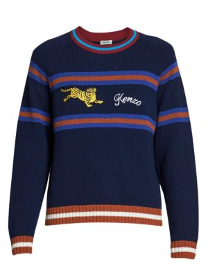 Jumping Tiger Striped Wool-Blend Sweater