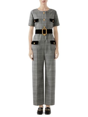 Short Sleeve Prince Of Wales Check Belted Jumpsuit