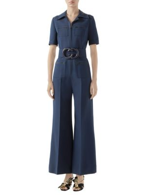 Short Sleeve GG Belt Cady Crepe Jumpsuit