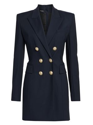 Double-Breasted Stretch-Wool Jacket Dress
