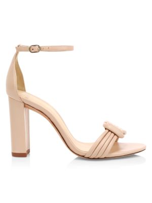 Vicky Ankle-Strap Block Heel Leather Sandals