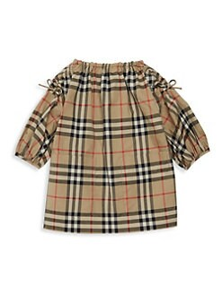 버버리 여아용 원피스 Burberry Baby Girls Mini Alenka Plaid Shift Dress,Archive Beige