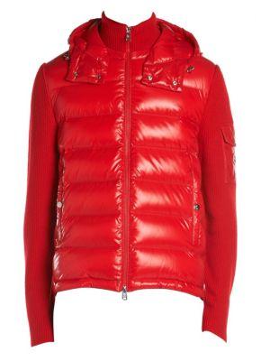 Rib-Knit Sleeve Virgin Wool & Nylon-Blend Down Puffer Jacket