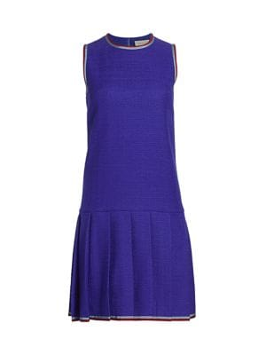 Sleeveless Tweed Drop Waist Daywear Dress