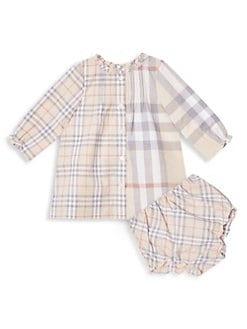 버버리 여아용 체크 투피스 세트 Burberry Baby Girls Marissa 2-Piece Pale Check Dress & Bloomers Set,Pale Stone
