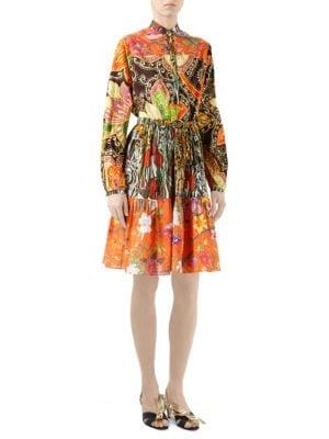 New India Print Cotton Long-Sleeve Dress