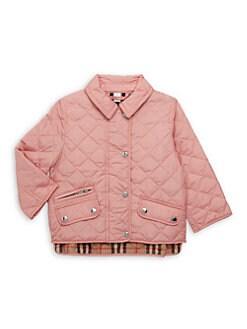 버버리 여아용 브래넌 퀼팅 자켓 - 핑크 Burberry Baby Girls IG6 Brennan Quilted Coat,Dusty Pink