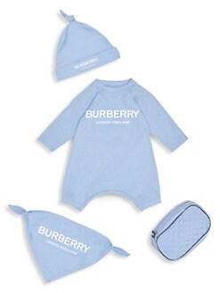 버버리 남아용 4피스 바디수트 Burberry Baby Boys Maemae Four-Piece Bodysuit, Hat, Bib & Pouch Set,Dusty Blue