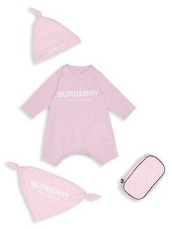 버버리 여아용 4피스 바디수트 Burberry Baby Girls Maemae Four-Piece Coverall, Hat, Bib & Pouch Set,Pale Neon