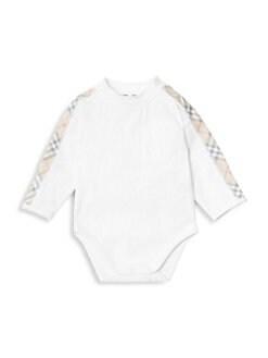 버버리 남아용 4피스 바디수트 Burberry Babys Alby Four-Piece Bodysuit, Hat, Bib & Pouch Set,White
