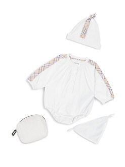 버버리 여아용 4피스 바디수트 Burberry Babys Bertha Four-Piece Bodysuit, Hat, Bib & Pouch Set,White
