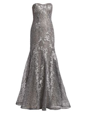 Strapless Metallic Floral Embroidered & Sequin Mermaid Gown