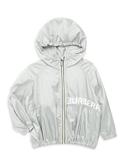버버리 키즈 로고 나일론 트랙 자켓 - 실버 Burberry Little Kids & Kids KG6 Marcelo Logo Nylon Track Jacket,Silver