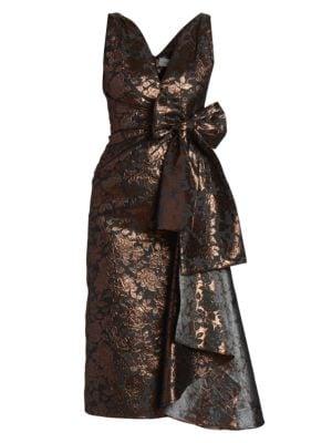 Rose Jacquard Bow Sheath Dress