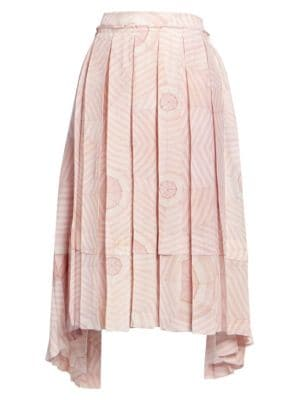 Deconstructed Pleated Print Silk Skirt