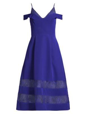 Crepe & Lace Midi Dress
