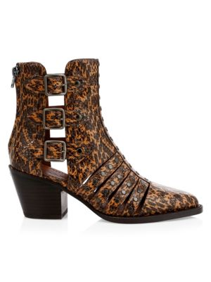 Phoebe Cutout Snakeskin-Embossed Leather Boots