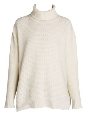 MARNI | Virgin Wool & Cashmere Open Weave Turtleneck Sweater | Goxip