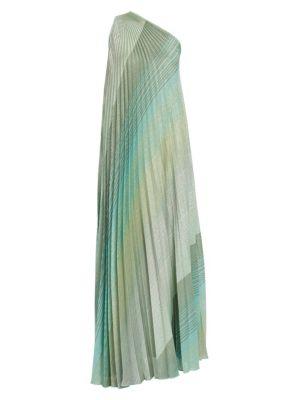 Plissé Lamé One-Shoulder Gown
