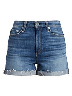 랙앤본 하이라이즈 청반바지 Rag & Bone Nina High-Rise Cuffed Denim Shorts,Balboa