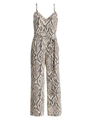 L'AGENCE | Jaelyn Python Print Silk Jumpsuit | Goxip