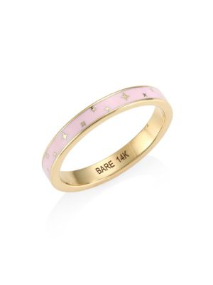 BARE   Champlevé Pink Enamel Ring   Goxip