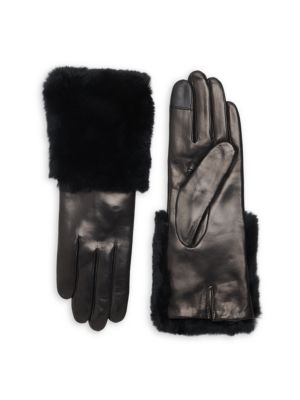 Rabbit Fur-Trim Leather Gloves