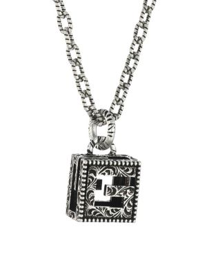 YB130 G Cube Sterling Silver Pendant Necklace