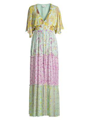 Multi Floral Print Maxi Dress