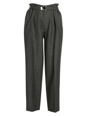 Paperbag-Waist Virgin Wool Trousers