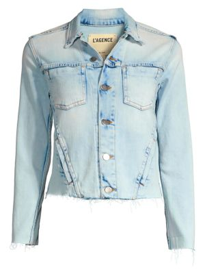 Janelle Slim-Fit Raw Hem Denim Jacket