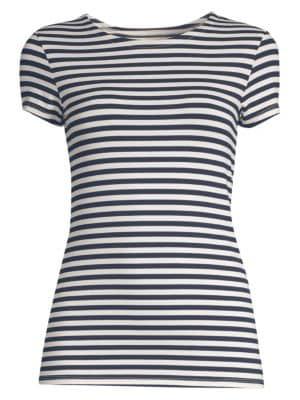 L'AGENCE | Ressi Striped Crew Neck T-Shirt | Goxip