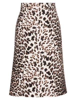 PRADA   Leopard Wool Gabardine A-Line Skirt   Goxip