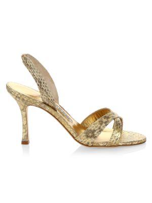 Calla Snakeskin Slingback Sandals