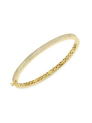14K Yellow Gold & Pavé Diamond Hinge Bangle