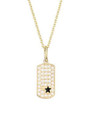 14K Yellow Gold, Diamond & Star Enamel Pendant Necklace