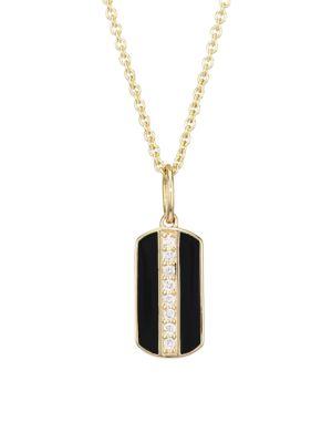Diamond, Black Enamel & 14K Yellow Dog Tag Pendant Necklace