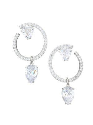 ADRIANA ORSINI | Gia Rhodium-Plated & Crystal Front-Facing Pear Drop Hoop Earrings | Goxip