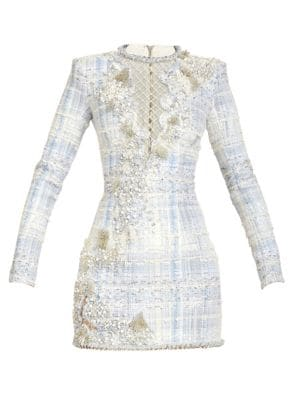 Embroidered Netted Long-Sleeve Mini Dress