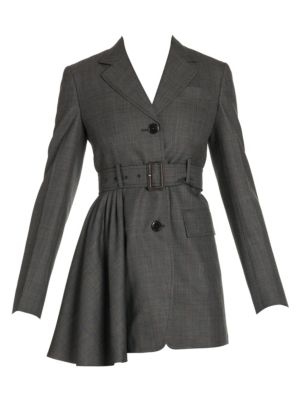 Belted Prince Of Wales Check Wool Jacket